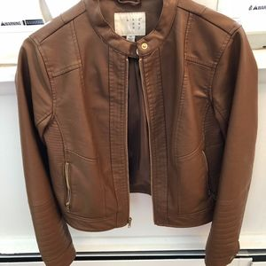 A NEW DAY brown faux leather jacket NWOT Moto XS